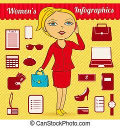 mujer de negocios, vector, infographic, conjunto