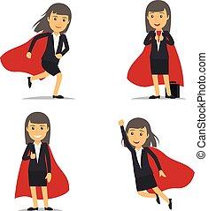mujer de negocios, vector, superhero