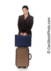 mujer de negocios, viajero, maleta