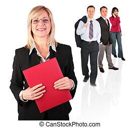 mujer de negocios, y, gente, grupo