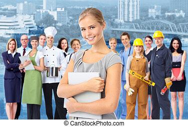 mujer de negocios, y, grupo, de, industrial, workers.