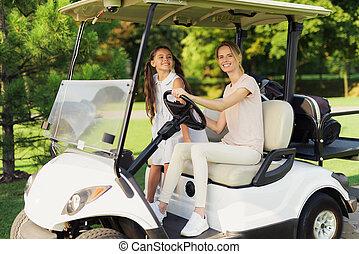 mujer, de, obtenido, asiento, cart., miradas, golf, niña,...