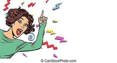 mujer, dedo que señala