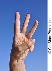 mujer, dedos, hand-three