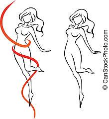 mujer, delgadez, cinta, esbelto, rojo