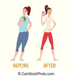 mujer, delgado, grasa, diet., cambios, después, antes