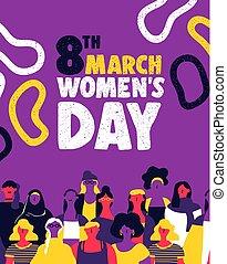 mujer, derechos, igual, diverso, equipo, womens, día