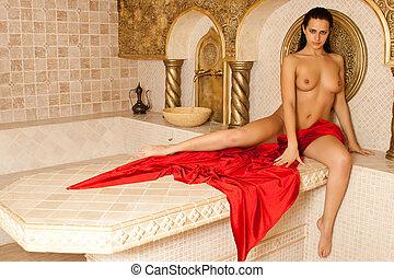 mujer desnuda, turco, baño