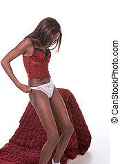 mujer, desnudo, se desvestir, lenceria, negro, étnico, rojo