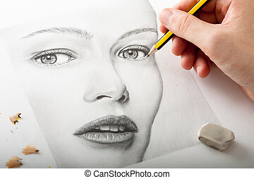 mujer, dibujo, mano, cara