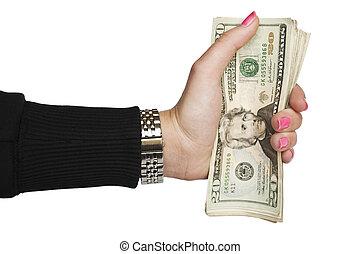 mujer, dinero de valor en cartera de mano
