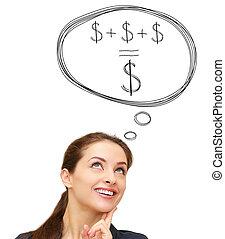mujer, dinero del ahorro, aislado, concepto, sonriente,...
