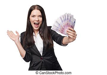 mujer, dinero, euro, excitado, mano