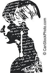 mujer, diseño, ilustración