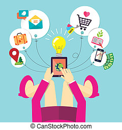 mujer, dispositivo, móvil, asideros, diseño, plano