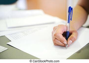 mujer, documento, escritura