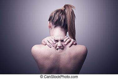 mujer, dolor, cuello, indicar, espalda