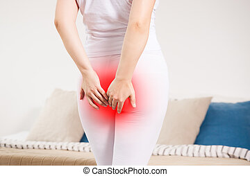 mujer, dolor, sufrimiento, anal, hogar, hemorroides