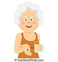 mujer, dos, anciano, cristal del agua, sujetar pastillas, feliz