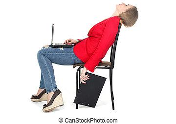 mujer, duro, relajar, trabajo, -, computadora, archivo,...