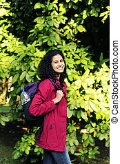 mujer, ecotourism:, excursionismo, bosque