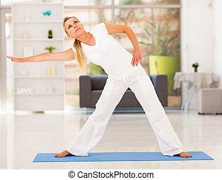 mujer, ejercicio, maduro