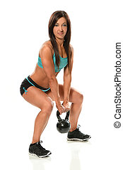 mujer, ejercitar, con, kettlebell, peso