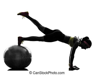mujer, ejercitar, condición física, entrenamiento, tablón, posición, silueta