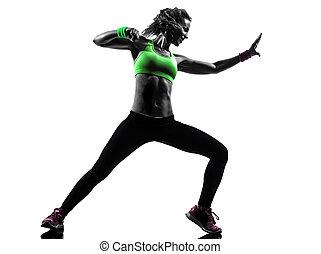 mujer, ejercitar, condición física, zumba, bailando, silueta