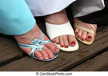 mujer, el exhibir, su, shoes