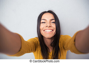mujer, elaboración, selfie, hermoso, foto