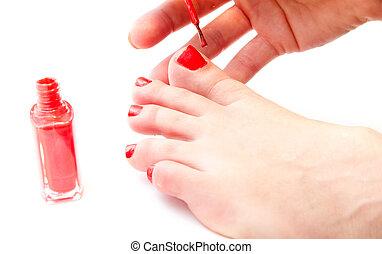 mujer, ella, clavos, brillante, pintura, rojo, dedo del pie