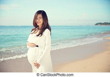 mujer, ella, embarazada, barriguita, mientras, conmovedor, ...
