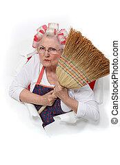 mujer, ella, enojado, pelo, tenencia, bigudíes, 3º edad,...