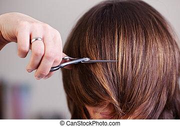 mujer, ella, pelo corto, corte, teniendo