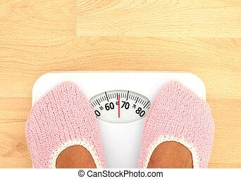 mujer, ella, peso escala, detalle, mirar, -