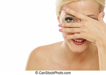 mujer, ella, tímido, dedos, echar una ojeada, por