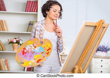 mujer, ella, verificar, joven, pedazo, art.