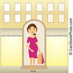 mujer embarazada, con, paquete