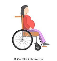 mujer, embarazada, sílla de ruedas, sentado, aislado, blanco