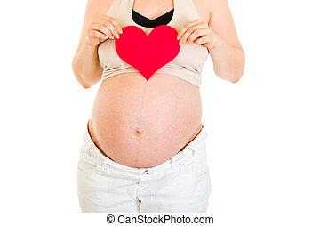 mujer embarazada, valor en cartera instrumentos de crédito, corazón, en, ella, manos, aislado, en, white., close-up.