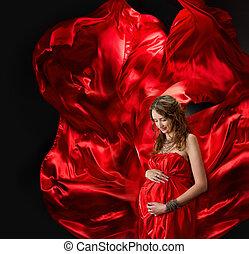 mujer, embarazada, vuelo, tarde, vestido rojo, viento