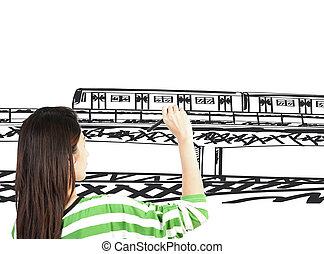 mujer, empate, tren, transporte, y, cityscape