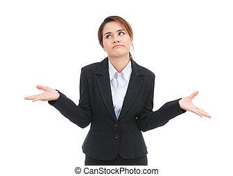 mujer, empresa / negocio, aislado, Dejar insatisfecho, Plano...