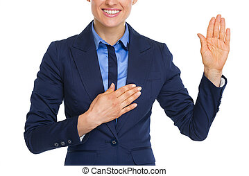 mujer, empresa / negocio, Primer plano, verdad, juramento,...