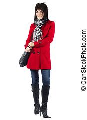 mujer, en, abrigo rojo