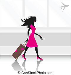 mujer, en, aeropuerto