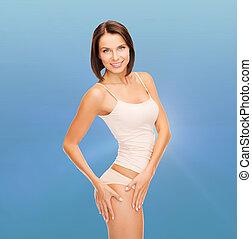 mujer, en, algodón, ropa interior, actuación, slimming,...
