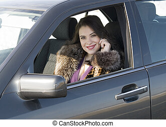 mujer, en coche