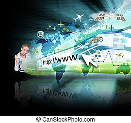 mujer, en, computador portatil, con, negro, internet, proyección